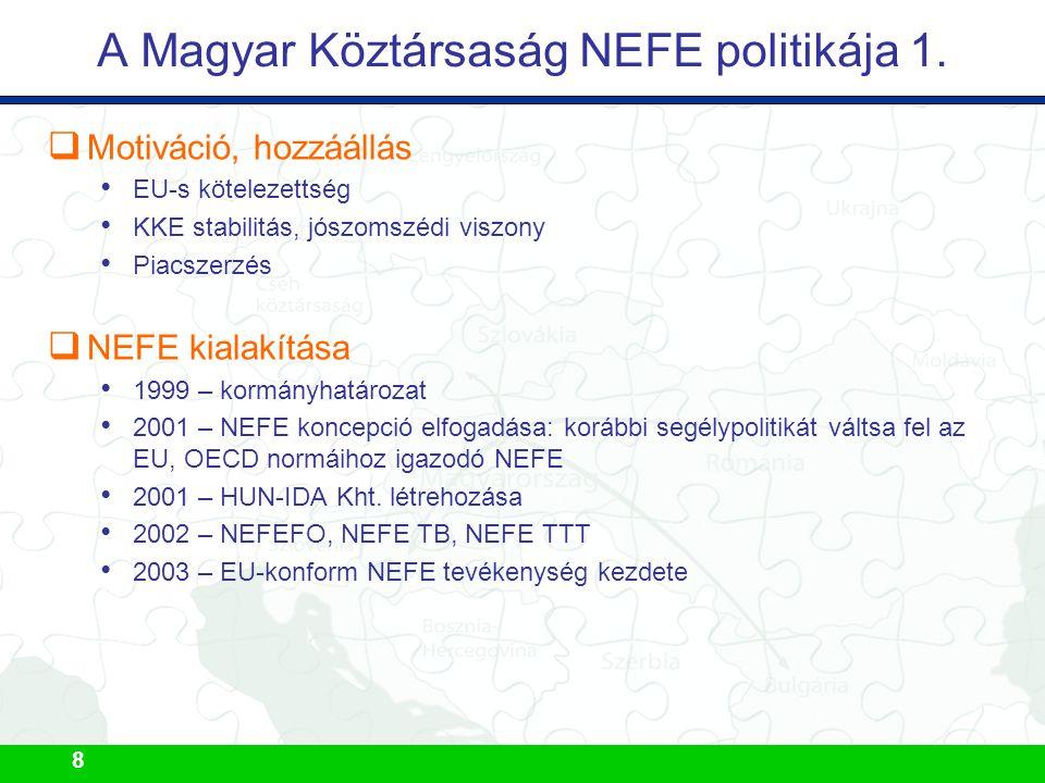 8 A Magyar Köztársaság NEFE politikája 1.  Motiváció, hozzáállás EU-s kötelezettség KKE stabilitás, jószomszédi viszony Piacszerzés  NEFE kialakítás