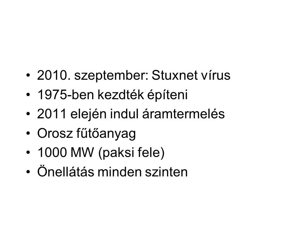 2010. szeptember: Stuxnet vírus 1975-ben kezdték építeni 2011 elején indul áramtermelés Orosz fűtőanyag 1000 MW (paksi fele) Önellátás minden szinten