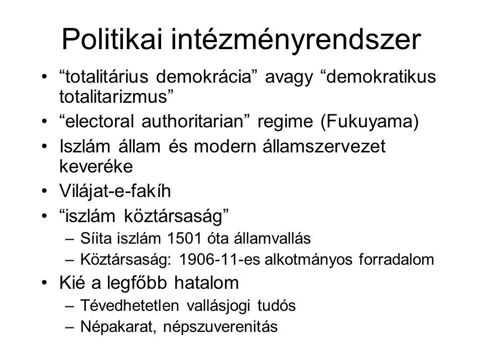"""Politikai intézményrendszer """"totalitárius demokrácia"""" avagy """"demokratikus totalitarizmus"""" """"electoral authoritarian"""" regime (Fukuyama) Iszlám állam és"""