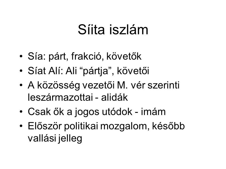 """Síita iszlám Sía: párt, frakció, követők Síat Alí: Ali """"pártja"""", követői A közösség vezetői M. vér szerinti leszármazottai - alidák Csak ők a jogos ut"""