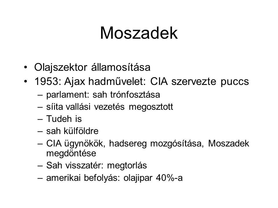 Moszadek Olajszektor államosítása 1953: Ajax hadművelet: CIA szervezte puccs –parlament: sah trónfosztása –síita vallási vezetés megosztott –Tudeh is