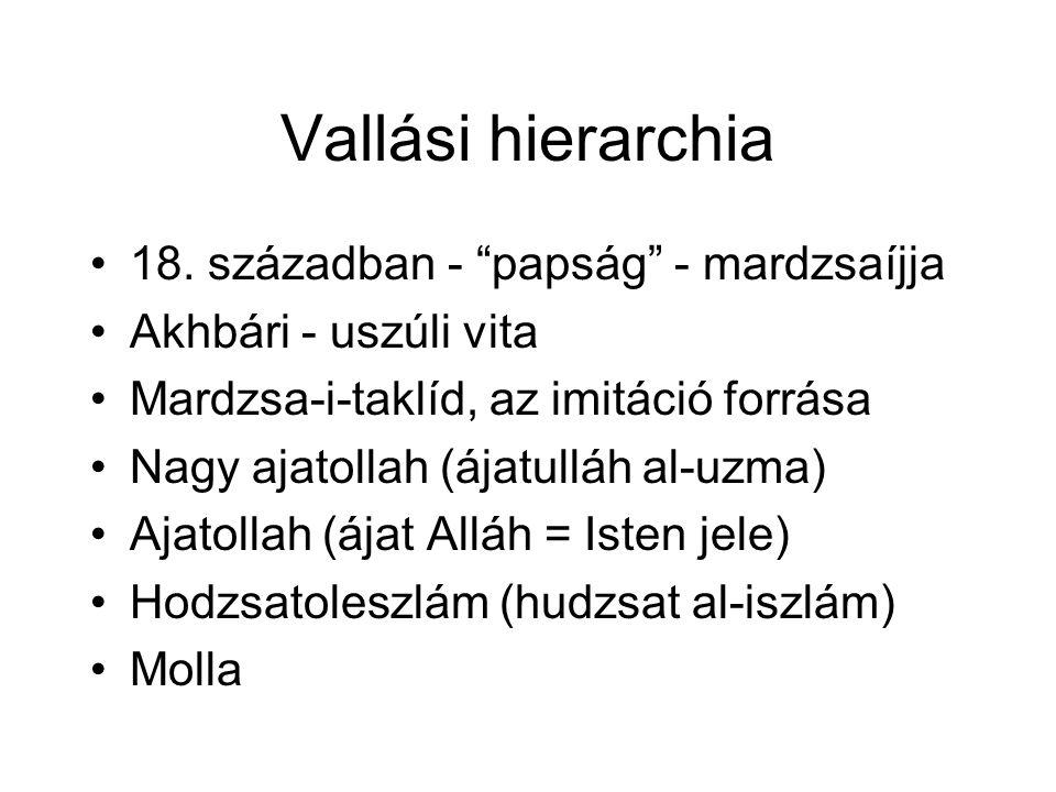 """Vallási hierarchia 18. században - """"papság"""" - mardzsaíjja Akhbári - uszúli vita Mardzsa-i-taklíd, az imitáció forrása Nagy ajatollah (ájatulláh al-uzm"""