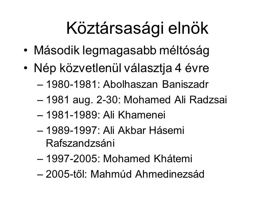 Köztársasági elnök Második legmagasabb méltóság Nép közvetlenül választja 4 évre –1980-1981: Abolhaszan Baniszadr –1981 aug. 2-30: Mohamed Ali Radzsai