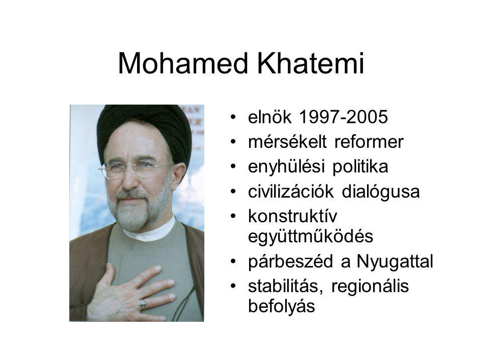 Mohamed Khatemi elnök 1997-2005 mérsékelt reformer enyhülési politika civilizációk dialógusa konstruktív együttműködés párbeszéd a Nyugattal stabilitá