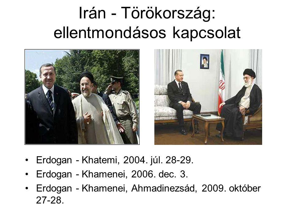 Irán - Törökország: ellentmondásos kapcsolat Erdogan - Khatemi, 2004. júl. 28-29. Erdogan - Khamenei, 2006. dec. 3. Erdogan - Khamenei, Ahmadinezsád,