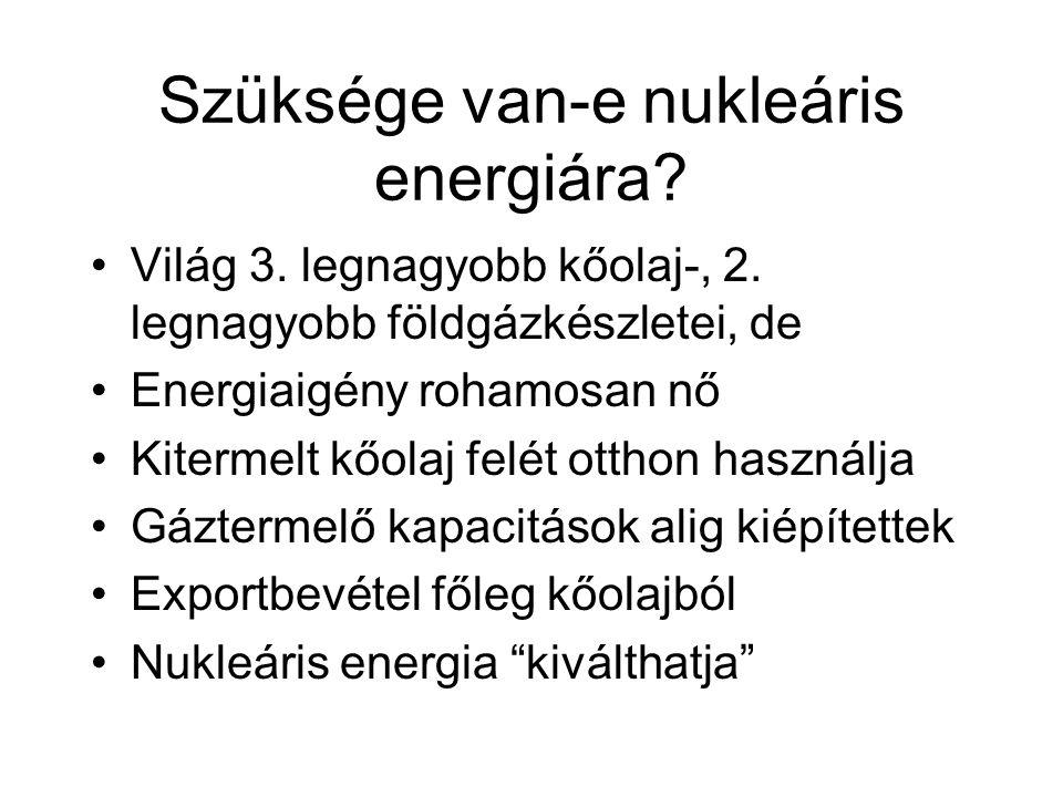 Szüksége van-e nukleáris energiára? Világ 3. legnagyobb kőolaj-, 2. legnagyobb földgázkészletei, de Energiaigény rohamosan nő Kitermelt kőolaj felét o