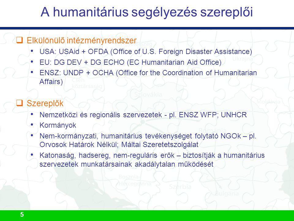 5 A humanitárius segélyezés szereplői  Elkülönülő intézményrendszer USA: USAid + OFDA (Office of U.S. Foreign Disaster Assistance) EU: DG DEV + DG EC