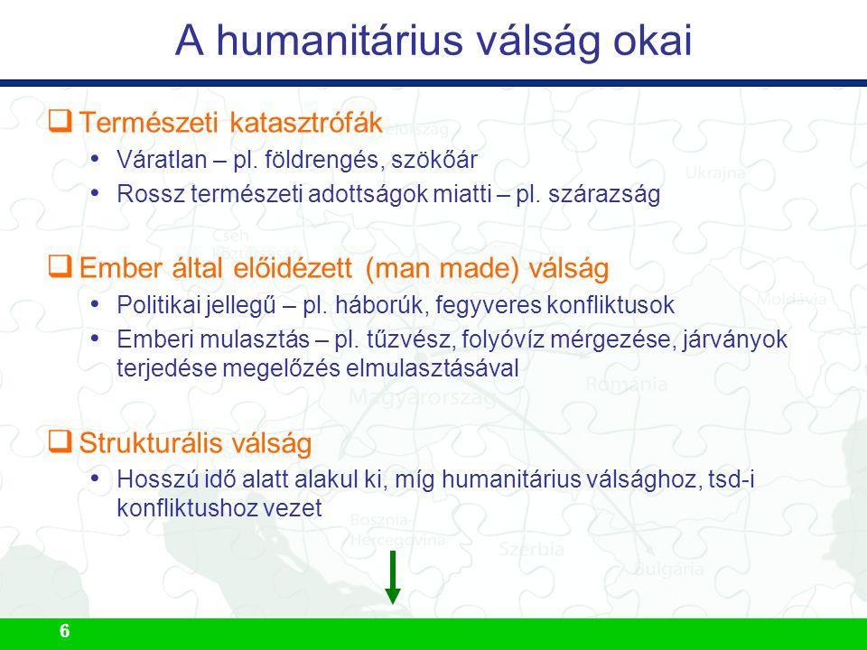 6  Természeti katasztrófák Váratlan – pl. földrengés, szökőár Rossz természeti adottságok miatti – pl. szárazság  Ember által előidézett (man made)