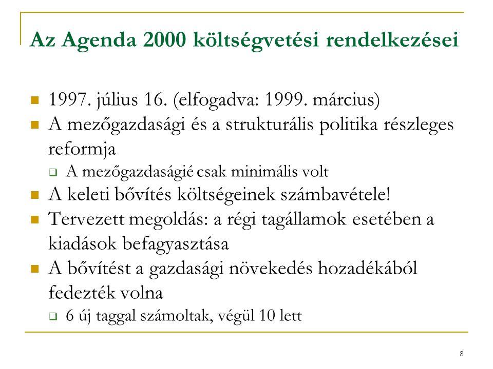 """9 Az Agenda 2000 költségvetési rendelkezései Maradtak a korábbi források, de arányuk változott  Csökkent a VAT-forrás kulcsa  Növekedett a GNI-forrás aránya  Emelkedett a hagyományos saját források """"beszedési költsége (25%) A kiadási plafon megmaradt: GNP 1,27%-a (GNI 1,24%-a) Két új kategória: tagjelöltek + új tagállamok támogatása (nincs átjárás a régiekkel)  A régieknél alacsonyabb mezőgazdasági és kohéziós támogatások az újaknak (6  10!)"""