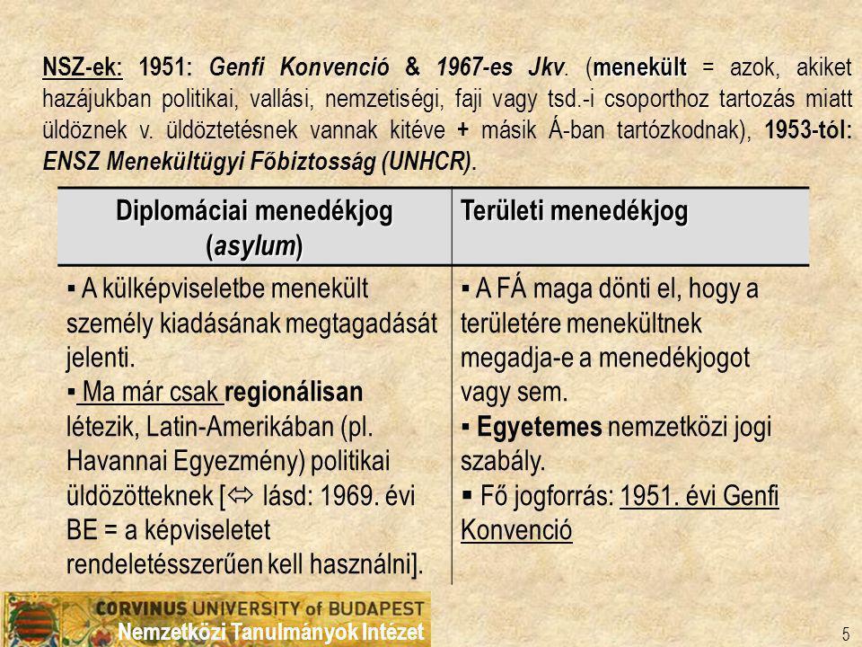 Nemzetközi Tanulmányok Intézet 5 Diplomáciai menedékjog ( asylum ) Területi menedékjog ▪ A külképviseletbe menekült személy kiadásának megtagadását jelenti.