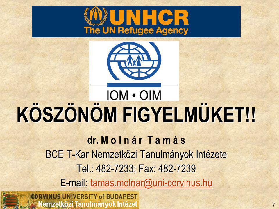 Nemzetközi Tanulmányok Intézet 7 KÖSZÖNÖM FIGYELMÜKET!.