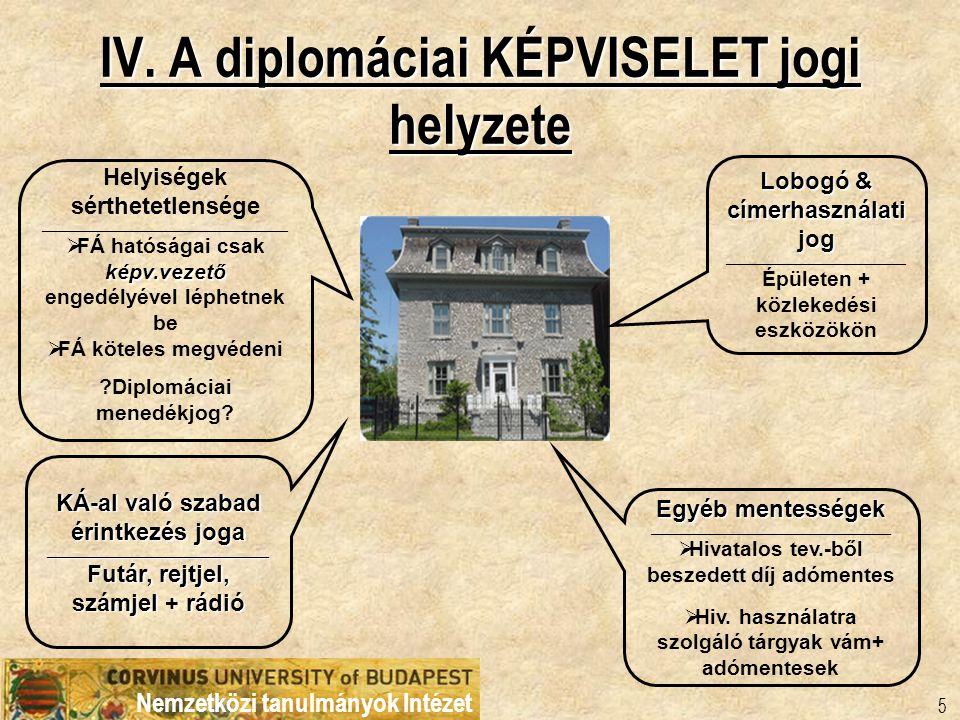 Nemzetközi tanulmányok Intézet 5 IV. A diplomáciai KÉPVISELET jogi helyzete Helyiségek sérthetetlensége _________________________________________ képv