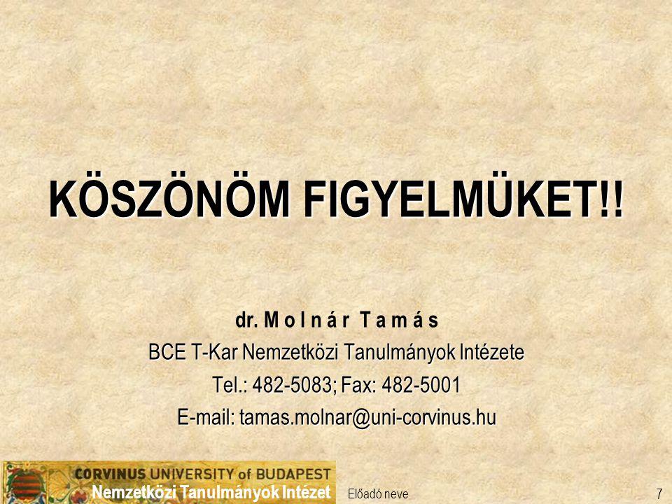 Nemzetközi Tanulmányok Intézet Előadó neve 7 KÖSZÖNÖM FIGYELMÜKET!! dr. M o l n á r T a m á s BCE T-Kar Nemzetközi Tanulmányok Intézete Tel.: 482-5083