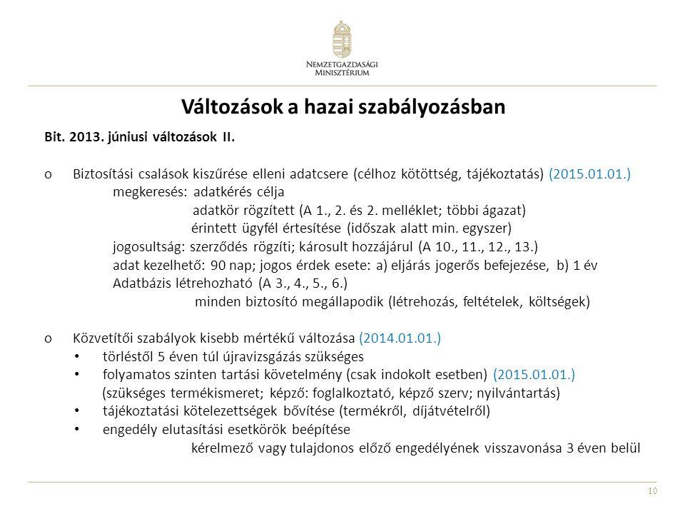 10 Változások a hazai szabályozásban Bit. 2013. júniusi változások II. oBiztosítási csalások kiszűrése elleni adatcsere (célhoz kötöttség, tájékoztatá
