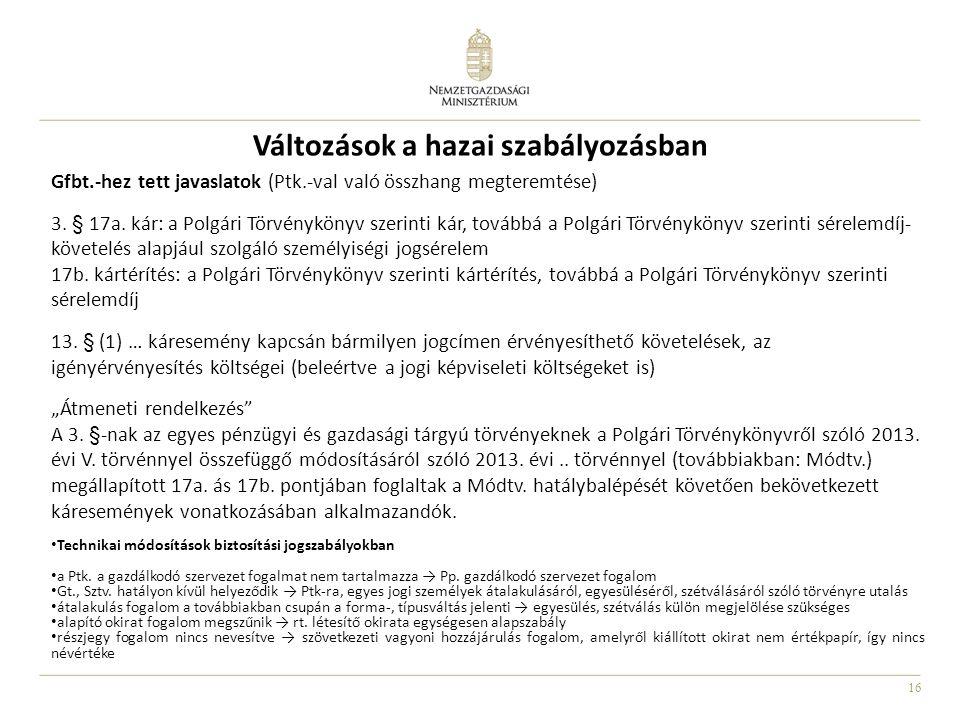 16 Változások a hazai szabályozásban Gfbt.-hez tett javaslatok (Ptk.-val való összhang megteremtése) 3. § 17a. kár: a Polgári Törvénykönyv szerinti ká