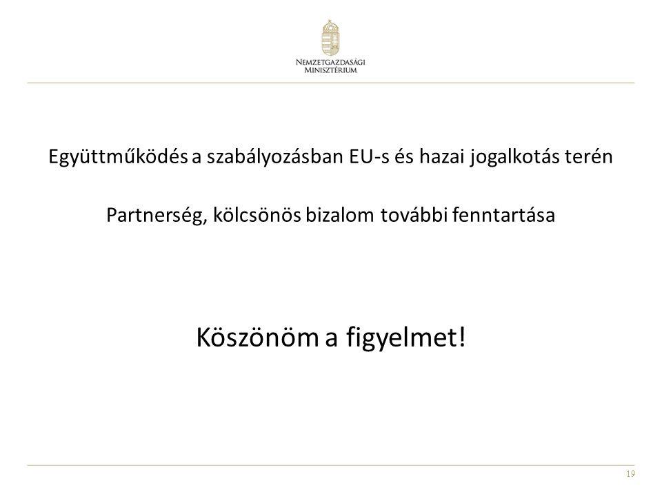 19 Együttműködés a szabályozásban EU-s és hazai jogalkotás terén Partnerség, kölcsönös bizalom további fenntartása Köszönöm a figyelmet!