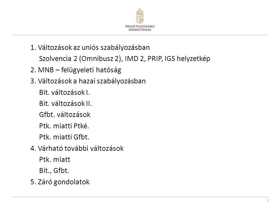 14 Változások a hazai szabályozásban Gfbt.2013.
