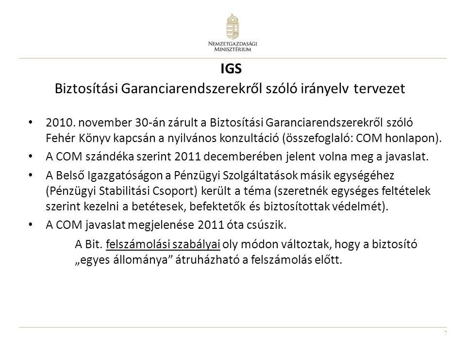 7 2010. november 30-án zárult a Biztosítási Garanciarendszerekről szóló Fehér Könyv kapcsán a nyilvános konzultáció (összefoglaló: COM honlapon). A CO