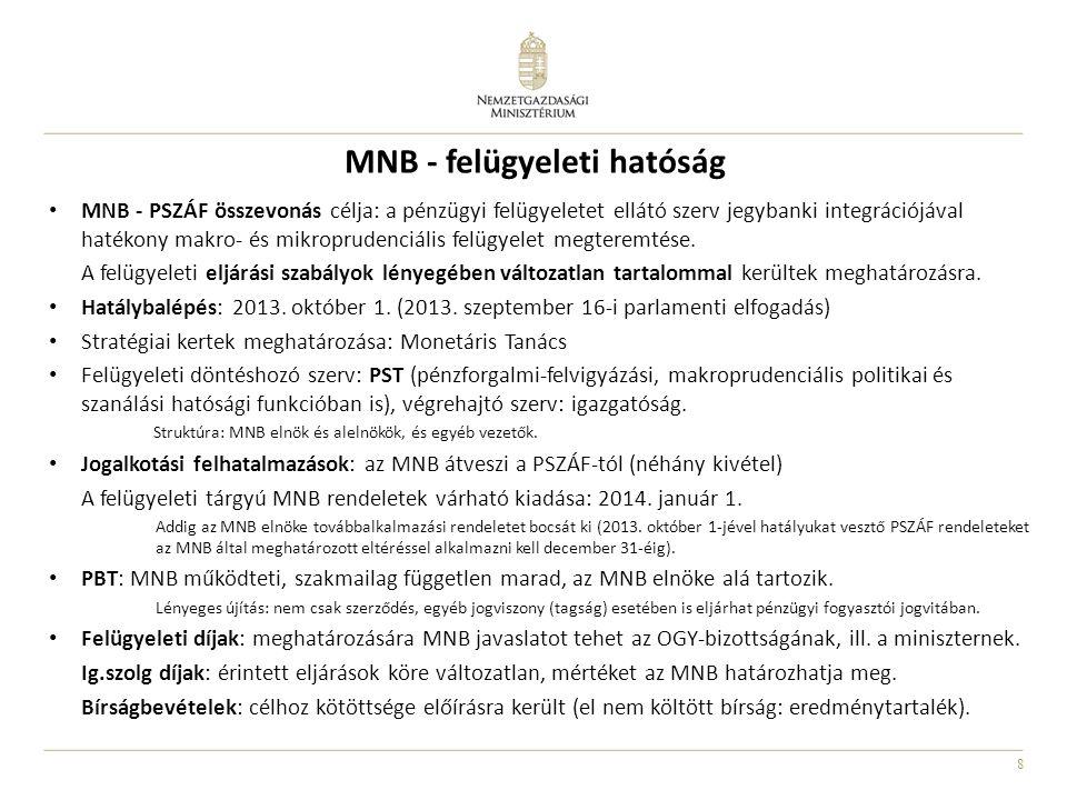 8 MNB - felügyeleti hatóság MNB - PSZÁF összevonás célja: a pénzügyi felügyeletet ellátó szerv jegybanki integrációjával hatékony makro- és mikroprude