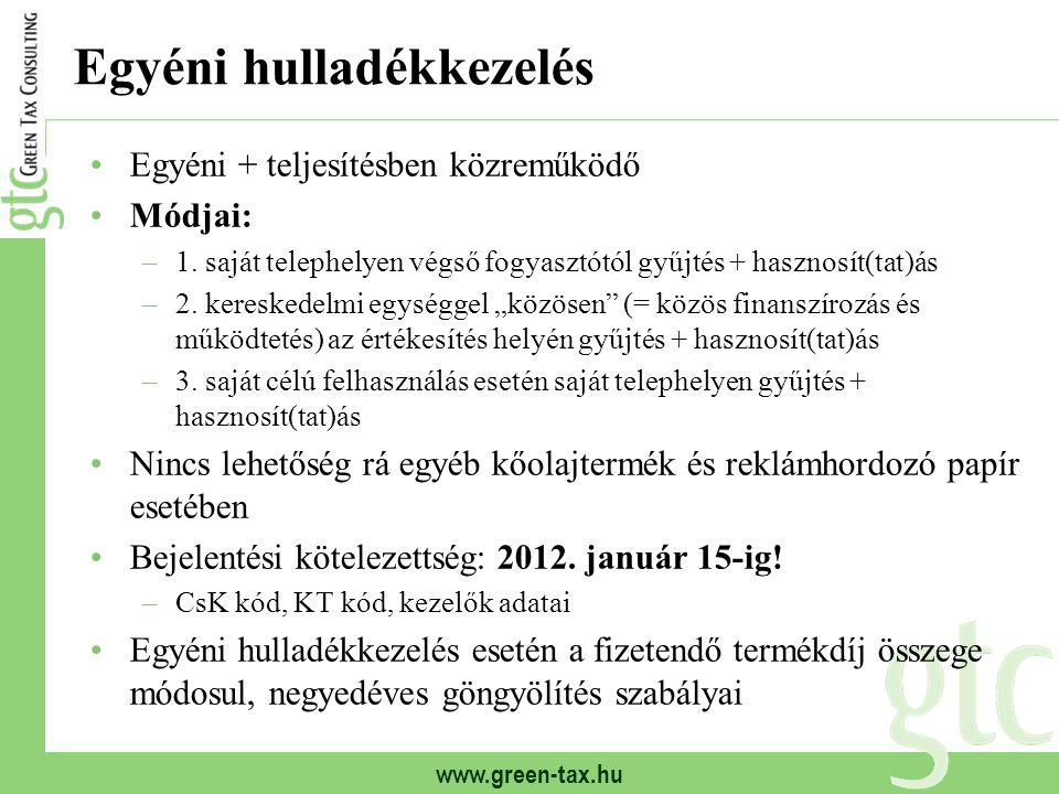 www.green-tax.hu Egyéni hulladékkezelés Egyéni + teljesítésben közreműködő Módjai: –1. saját telephelyen végső fogyasztótól gyűjtés + hasznosít(tat)ás
