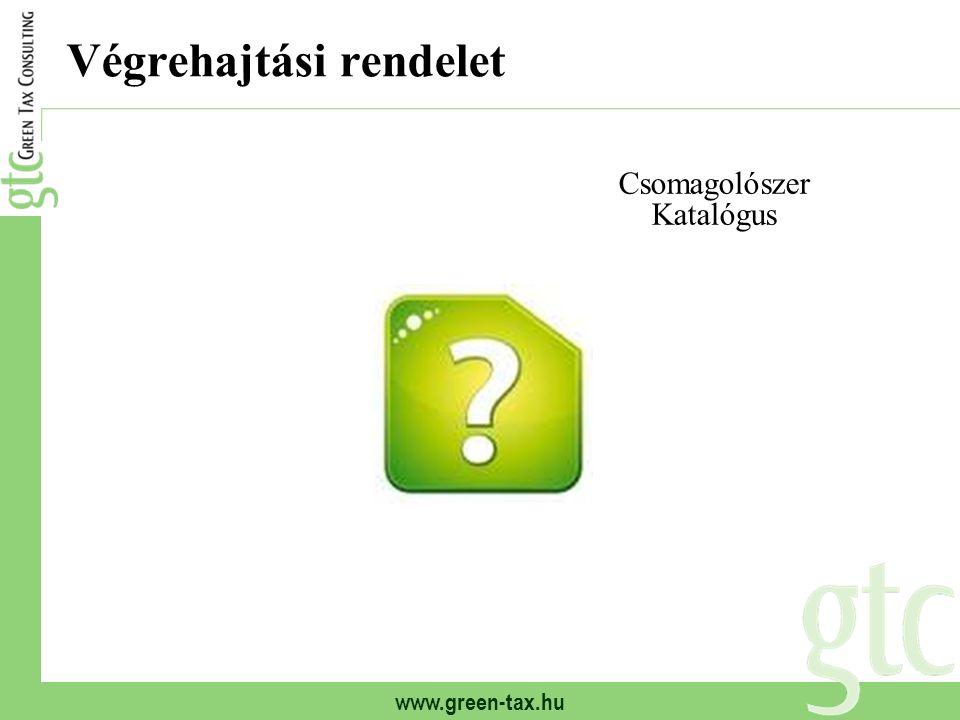 www.green-tax.hu Csomagolószer - Csomagolás Csomagolóeszköz Csomagolóanyag Csomagolási segédanyag Csomagolás Tárolóeszköz Selejtezés Nem termék megóvása Csomagolás Nem csomagolási cél Csomagolószerek katalógusa (rendelet) - Vámtarifaszám - CSK kód Csomagolás definíciója (törvény) - Fogalom-meghatározás - KT kód