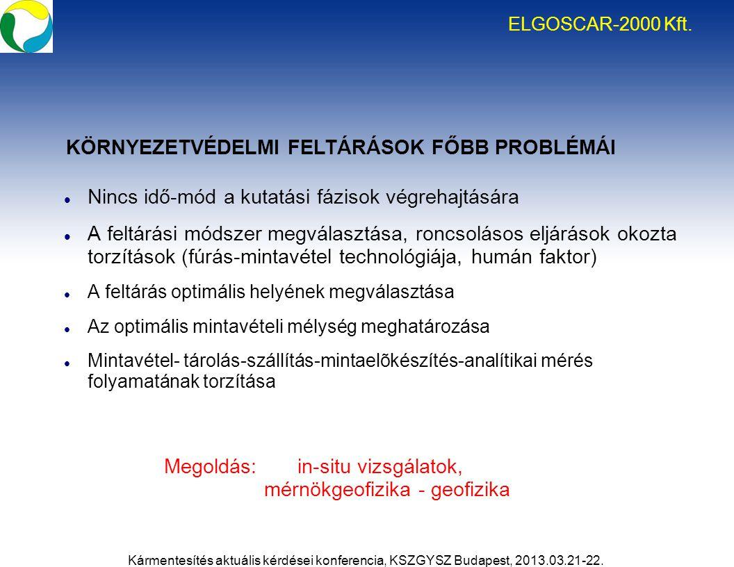 ELGOSCAR-2000 Kft. Nincs idő-mód a kutatási fázisok végrehajtására A feltárási módszer megválasztása, roncsolásos eljárások okozta torzítások (fúrás-m