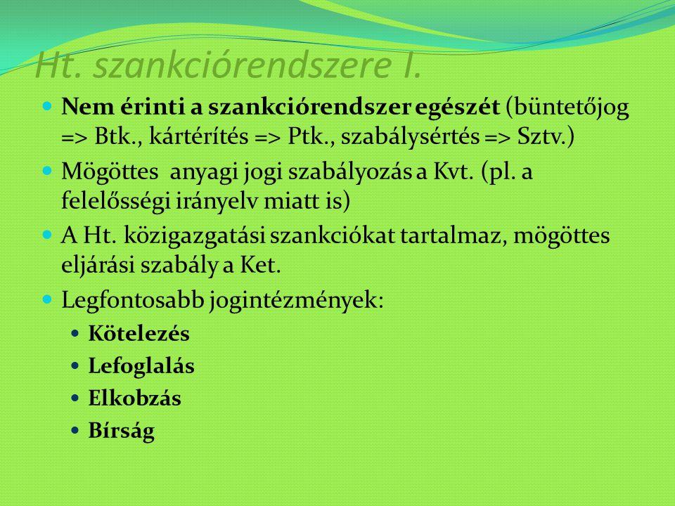 Ht. szankciórendszere I. Nem érinti a szankciórendszer egészét (büntetőjog => Btk., kártérítés => Ptk., szabálysértés => Sztv.) Mögöttes anyagi jogi s