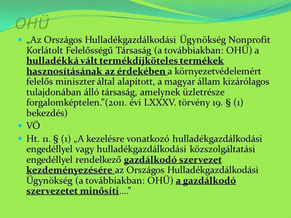 """OHÜ """"Az Országos Hulladékgazdálkodási Ügynökség Nonprofit Korlátolt Felelősségű Társaság (a továbbiakban: OHÜ) a hulladékká vált termékdíjköteles term"""