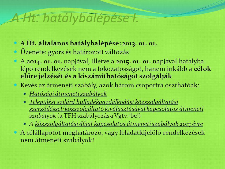 A Ht. hatálybalépése I. A Ht. általános hatálybalépése: 2013. 01. 01. Üzenete: gyors és határozott változás A 2014. 01. 01. napjával, illetve a 2015.