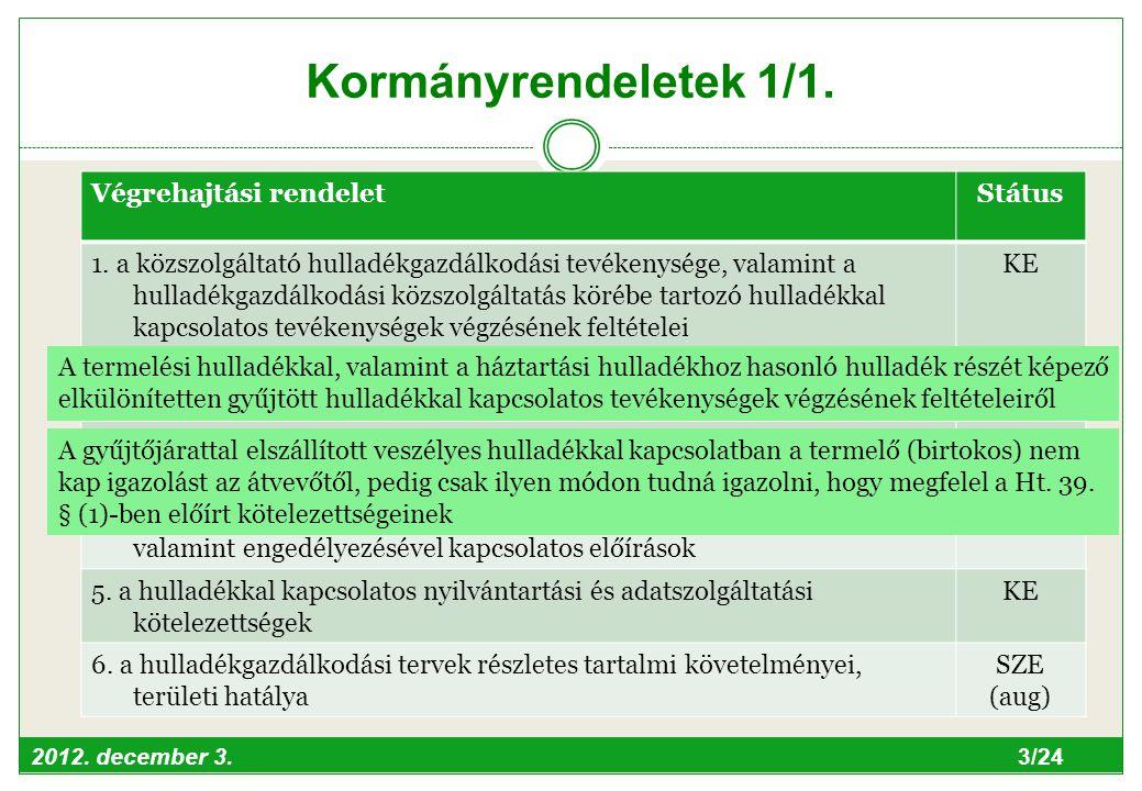 2012. december 3. 3/24 Kormányrendeletek 1/1. Végrehajtási rendeletStátus 1.
