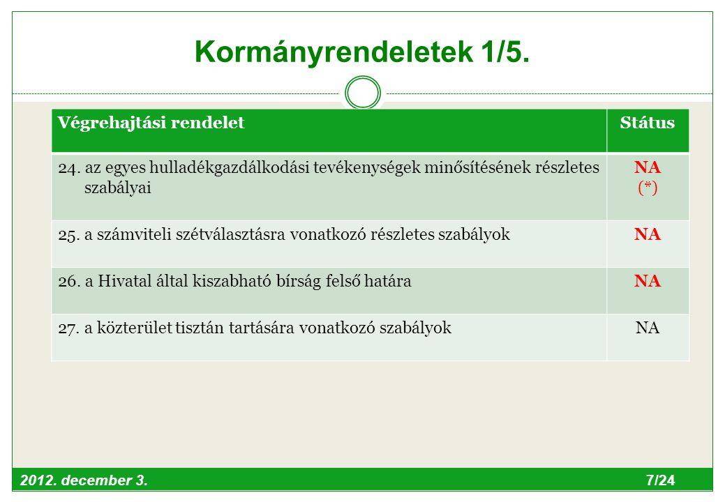 2012. december 3. 7/24 Kormányrendeletek 1/5. Végrehajtási rendeletStátus 24.