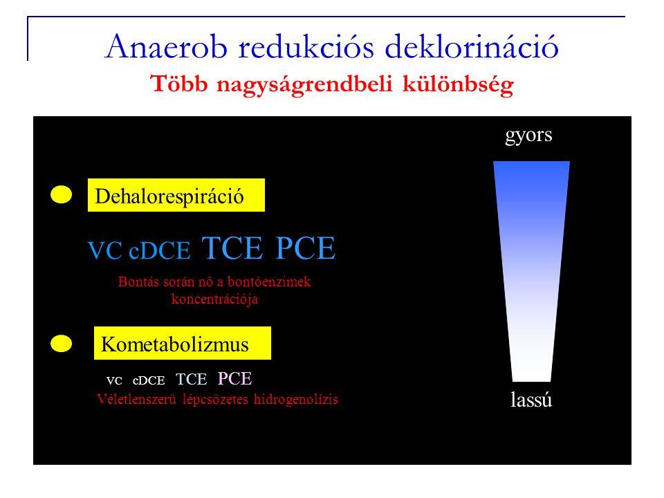 0 Dehalorespiráció VC cDCE TCE PCE Kometabolizmus VC cDCE TCE PCE gyors lassú Anaerob redukciós deklorináció Több nagyságrendbeli különbség Bontás során nő a bontóenzimek koncentrációja Véletlenszerű lépcsőzetes hidrogenolízis