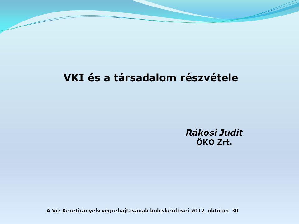 A Víz Keretirányelv végrehajtásának kulcskérdései 2012.