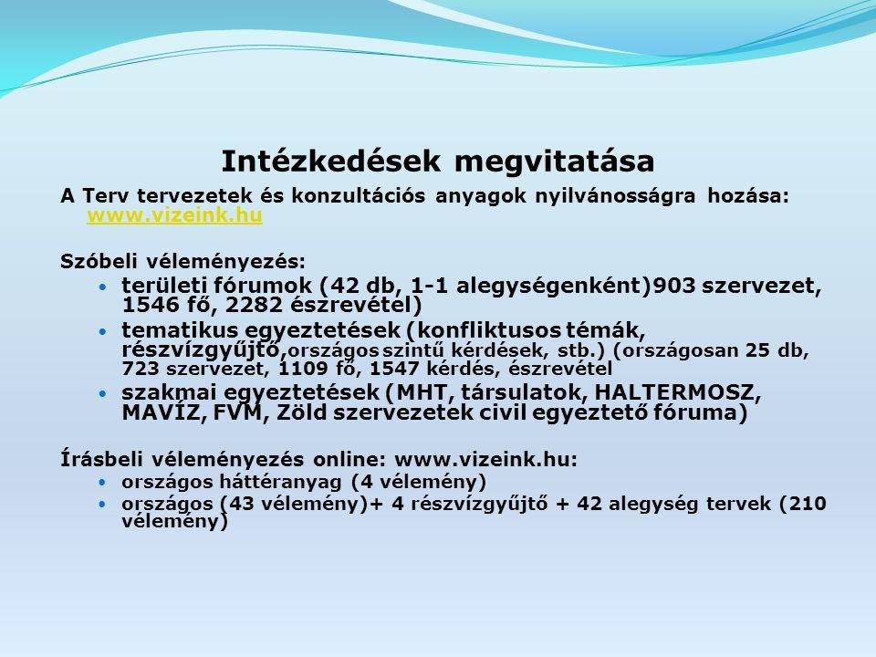 Intézkedések megvitatása A Terv tervezetek és konzultációs anyagok nyilvánosságra hozása: www.vizeink.hu www.vizeink.hu Szóbeli véleményezés: területi fórumok (42 db, 1-1 alegységenként)903 szervezet, 1546 fő, 2282 észrevétel) tematikus egyeztetések (konfliktusos témák, részvízgyűjtő, országos szintű kérdések, stb.) (országosan 25 db, 723 szervezet, 1109 fő, 1547 kérdés, észrevétel szakmai egyeztetések (MHT, társulatok, HALTERMOSZ, MAVÍZ, FVM, Zöld szervezetek civil egyeztető fóruma) Írásbeli véleményezés online: www.vizeink.hu: országos háttéranyag (4 vélemény) országos (43 vélemény)+ 4 részvízgyűjtő + 42 alegység tervek (210 vélemény)