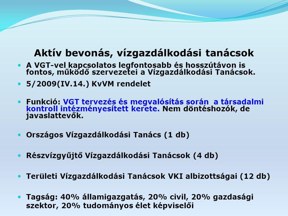 Aktív bevonás, vízgazdálkodási tanácsok A VGT-vel kapcsolatos legfontosabb és hosszútávon is fontos, működő szervezetei a Vízgazdálkodási Tanácsok.