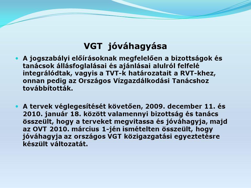 VGT jóváhagyása A jogszabályi előírásoknak megfelelően a bizottságok és tanácsok állásfoglalásai és ajánlásai alulról felfelé integrálódtak, vagyis a TVT-k határozatait a RVT-khez, onnan pedig az Országos Vízgazdálkodási Tanácshoz továbbították.