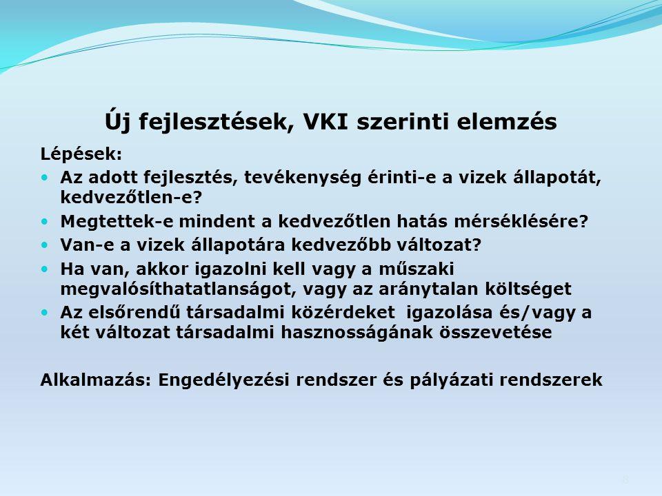 Új fejlesztések, VKI szerinti elemzés Lépések: Az adott fejlesztés, tevékenység érinti-e a vizek állapotát, kedvezőtlen-e.