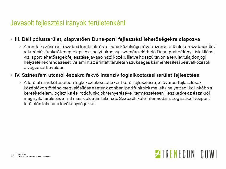 › III. Déli pólusterület, alapvetően Duna-parti fejlesztési lehetőségekre alapozva › A rendelkezésre álló szabad területek, és a Duna közelsége révén