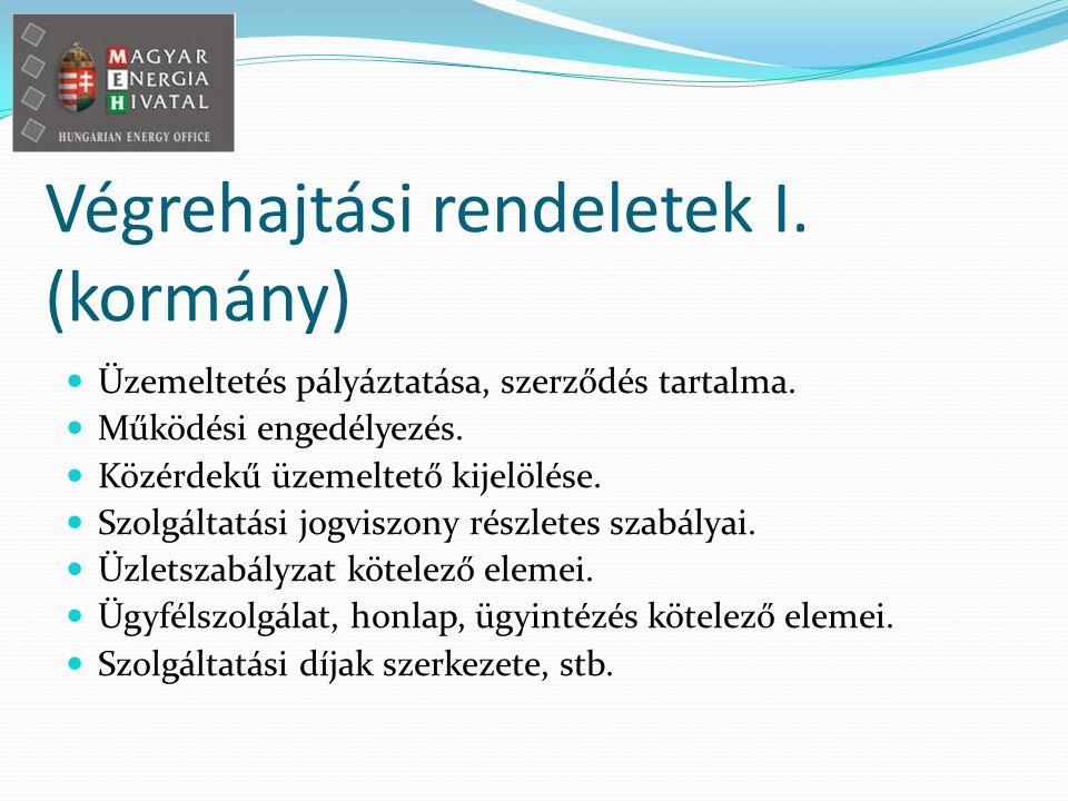 Végrehajtási rendeletek I. (kormány) Üzemeltetés pályáztatása, szerződés tartalma.