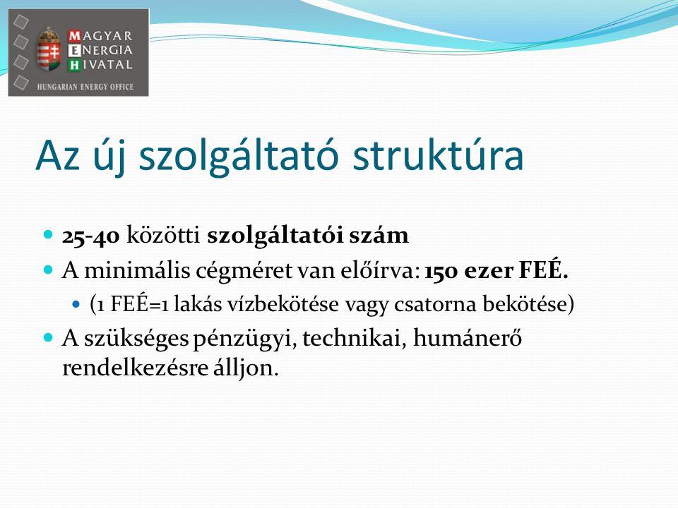 Az új szolgáltató struktúra 25-40 közötti szolgáltatói szám A minimális cégméret van előírva: 150 ezer FEÉ.