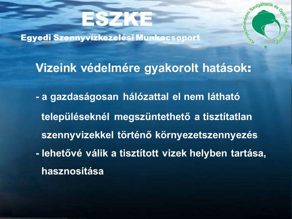 ESZKE Egyedi Szennyvízkezelési Munkacsoport Vizeink védelmére gyakorolt hatások : - a gazdaságosan hálózattal el nem látható településeknél megszüntethető a tisztítatlan szennyvizekkel történő környezetszennyezés - lehetővé válik a tisztított vizek helyben tartása, hasznosítása