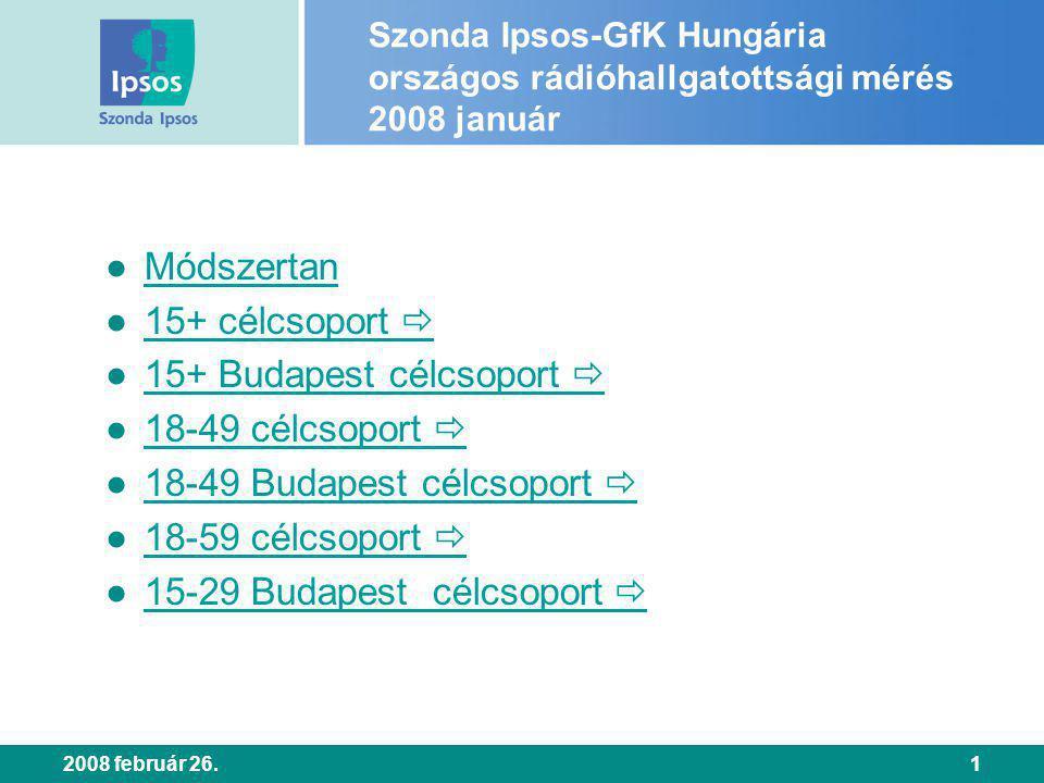 2008 február 26.1 Szonda Ipsos-GfK Hungária országos rádióhallgatottsági mérés 2008 január ● Módszertan Módszertan ● 15+ célcsoport  15+ célcsoport  ● 15+ Budapest célcsoport  15+ Budapest célcsoport  ● 18-49 célcsoport  18-49 célcsoport  ● 18-49 Budapest célcsoport  18-49 Budapest célcsoport  ● 18-59 célcsoport  18-59 célcsoport  ● 15-29 Budapest célcsoport  15-29 Budapest célcsoport 