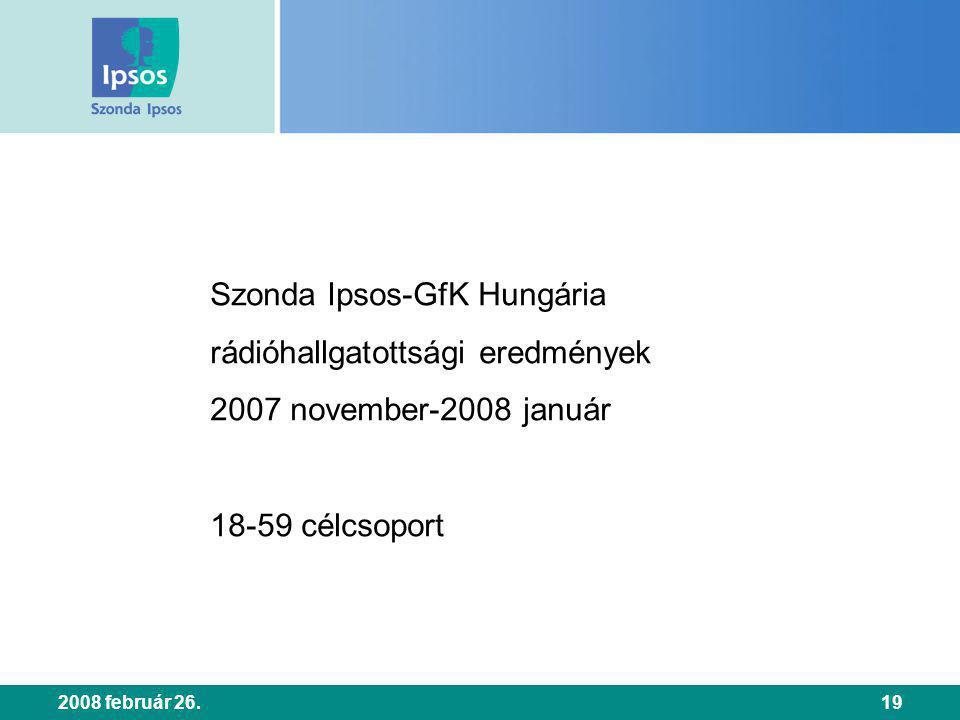 2008 február 26.19 Szonda Ipsos-GfK Hungária rádióhallgatottsági eredmények 2007 november-2008 január 18-59 célcsoport
