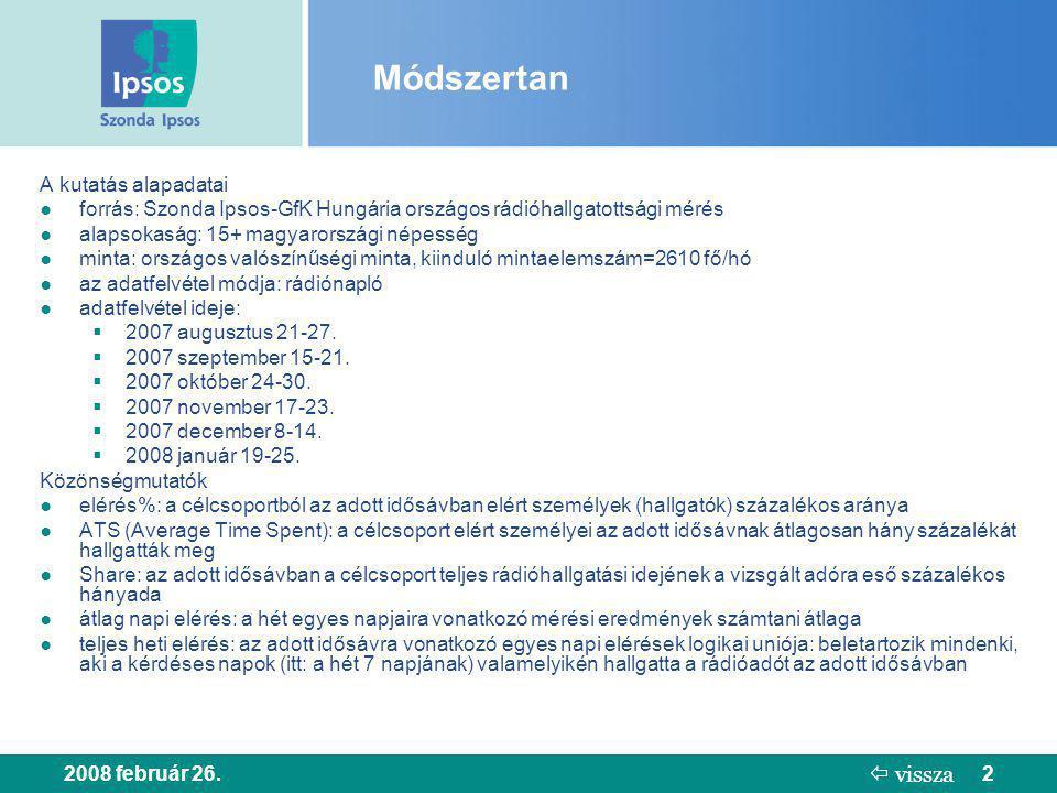 2008 február 26.2 Módszertan A kutatás alapadatai ● forrás: Szonda Ipsos-GfK Hungária országos rádióhallgatottsági mérés ● alapsokaság: 15+ magyarorsz