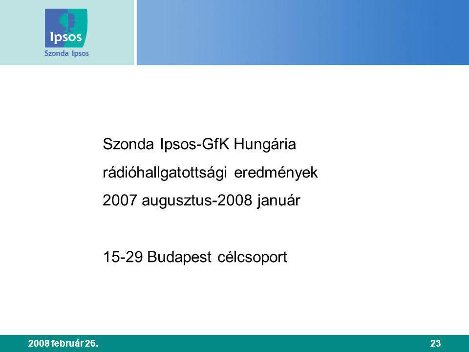 2008 február 26.23 Szonda Ipsos-GfK Hungária rádióhallgatottsági eredmények 2007 augusztus-2008 január 15-29 Budapest célcsoport
