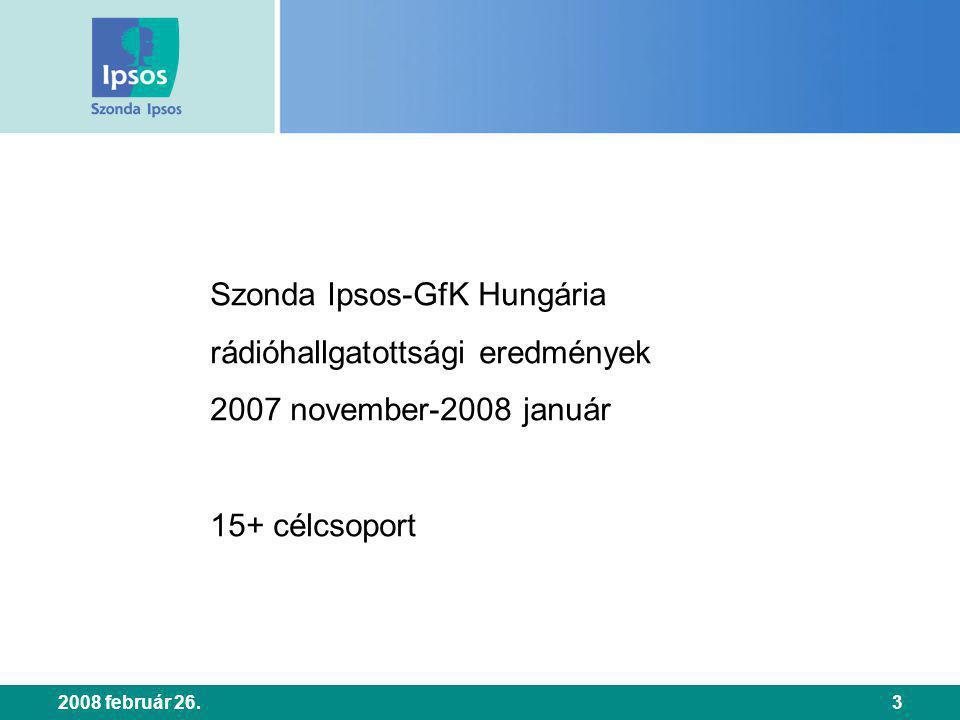 2008 február 26.3 Szonda Ipsos-GfK Hungária rádióhallgatottsági eredmények 2007 november-2008 január 15+ célcsoport