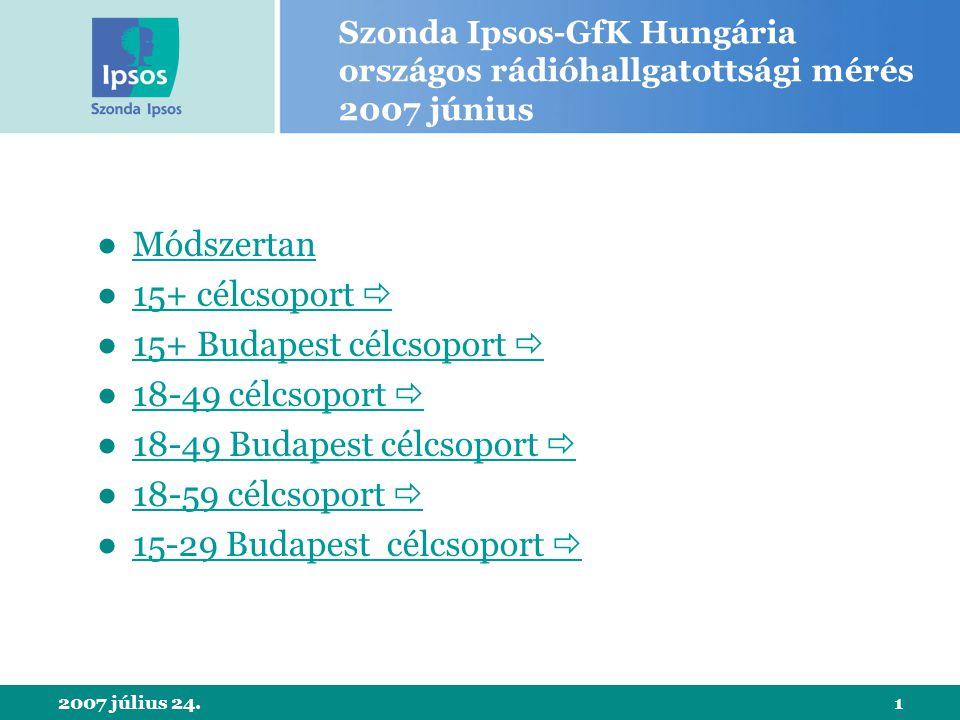 2007 július 24.1 Szonda Ipsos-GfK Hungária országos rádióhallgatottsági mérés 2007 június ●MódszertanMódszertan ●15+ célcsoport 15+ célcsoport  ●15+ Budapest célcsoport 15+ Budapest célcsoport  ●18-49 célcsoport 18-49 célcsoport  ●18-49 Budapest célcsoport 18-49 Budapest célcsoport  ●18-59 célcsoport 18-59 célcsoport  ●15-29 Budapest célcsoport 15-29 Budapest célcsoport 