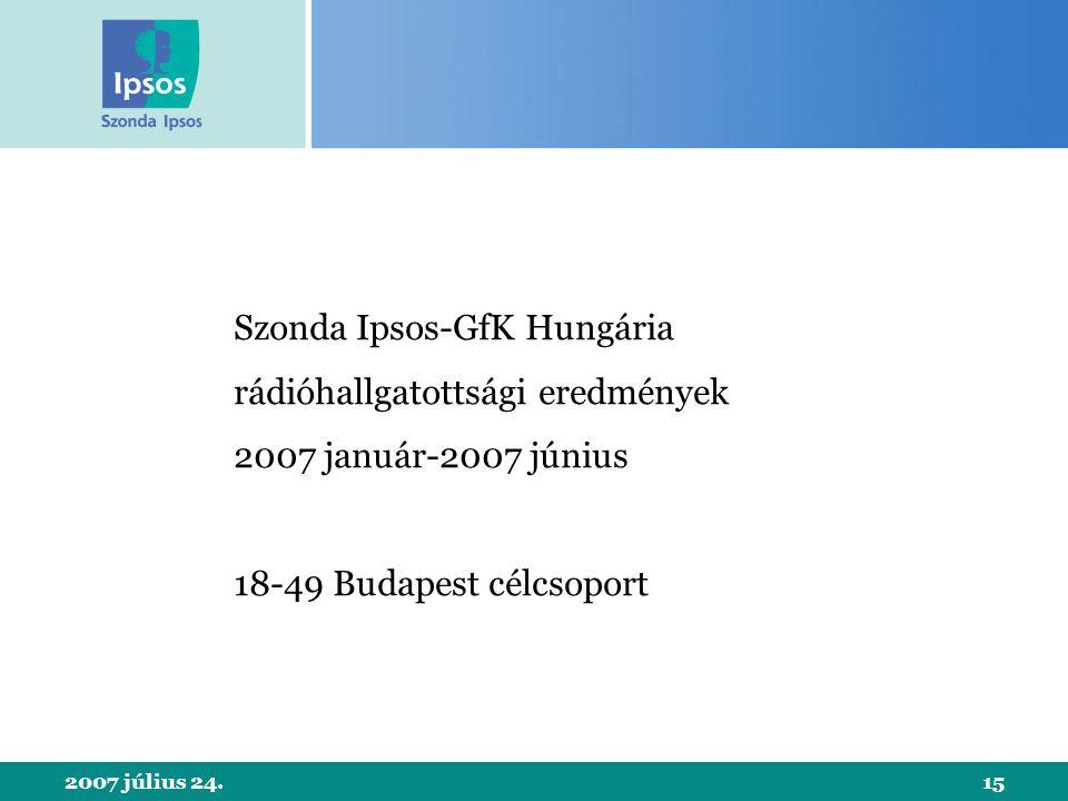 2007 július 24.15 Szonda Ipsos-GfK Hungária rádióhallgatottsági eredmények 2007 január-2007 június 18-49 Budapest célcsoport