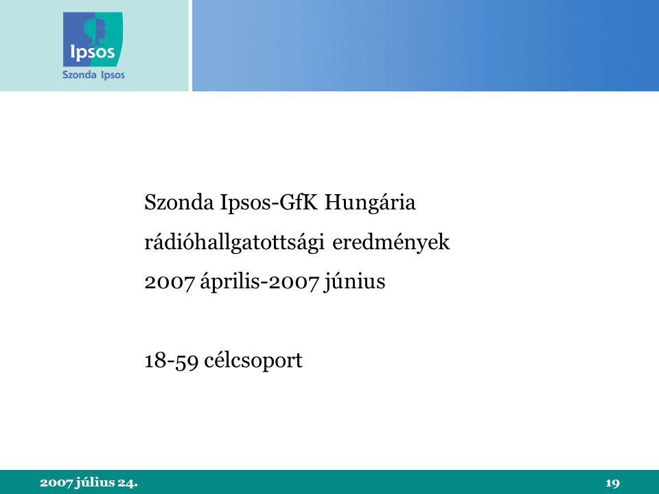 2007 július 24.19 Szonda Ipsos-GfK Hungária rádióhallgatottsági eredmények 2007 április-2007 június 18-59 célcsoport