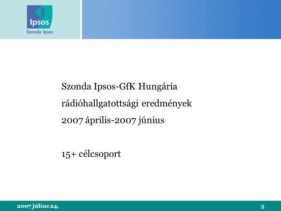 2007 július 24.3 Szonda Ipsos-GfK Hungária rádióhallgatottsági eredmények 2007 április-2007 június 15+ célcsoport